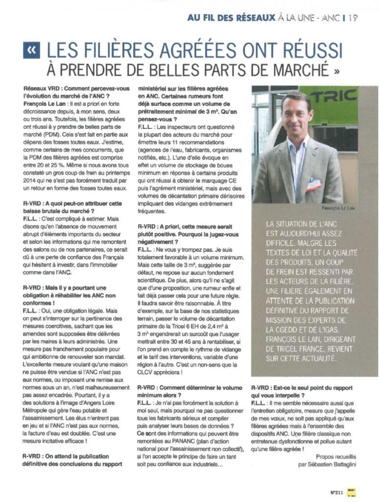 Interview Tricel-FLL Réseaux VRD n° 211 Octobre 2014 - marché des filières agréées ANC 2014