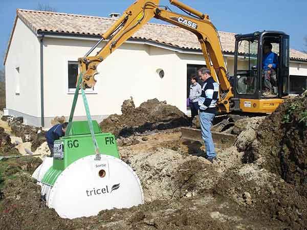 Installation d'une micro-station d'épuration Tricel Novo