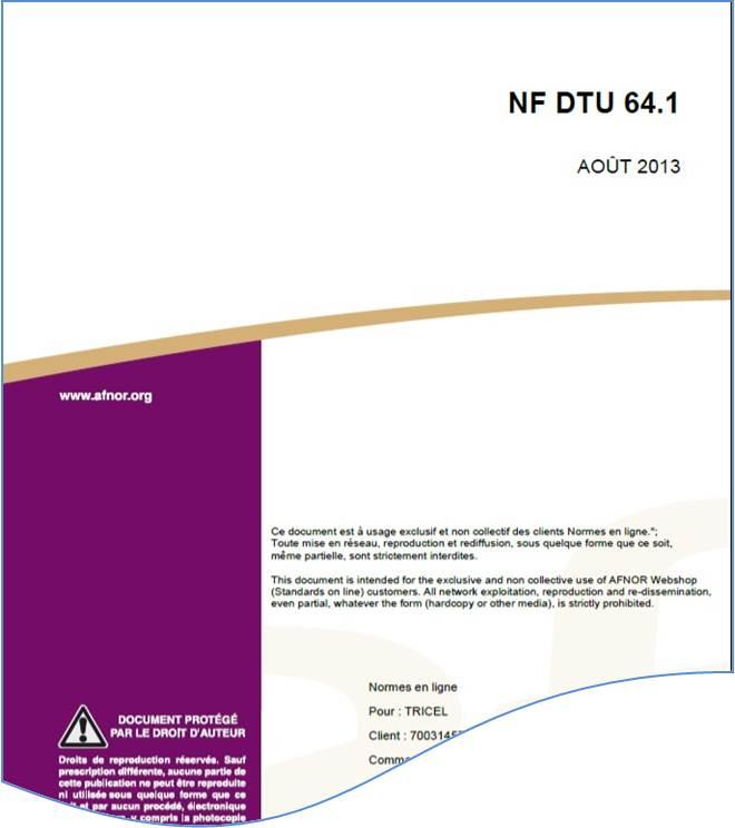 Résumé DTU 64-1